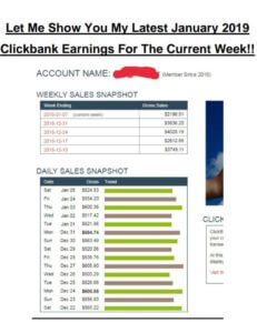 ClickBank earning report