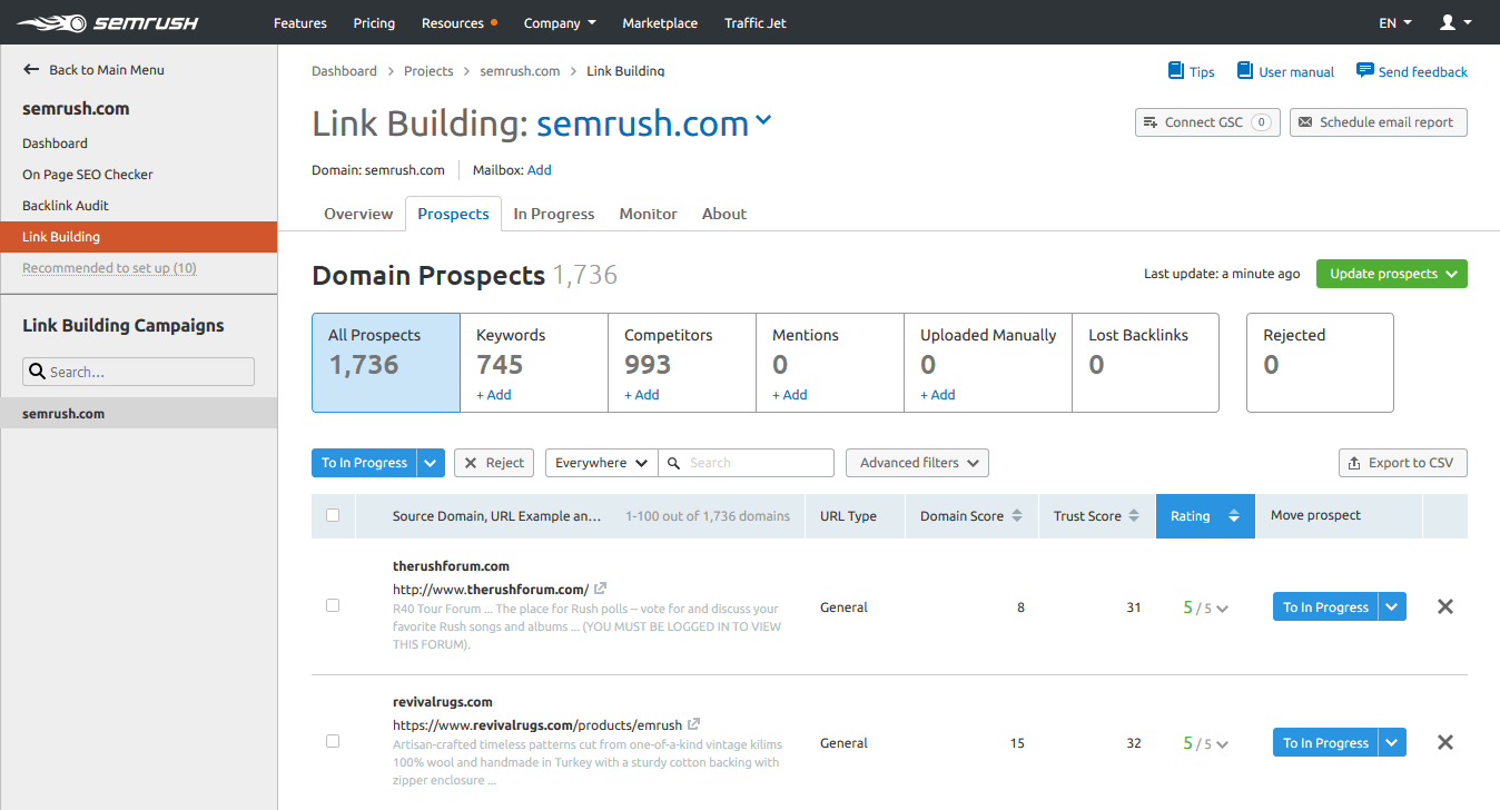 Semrush Review: Link Building Tool